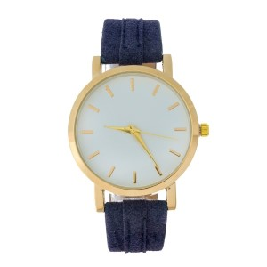 Navy blue suede watch with gold tone accents.