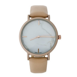 Blush faux leather watch with a marbled face.