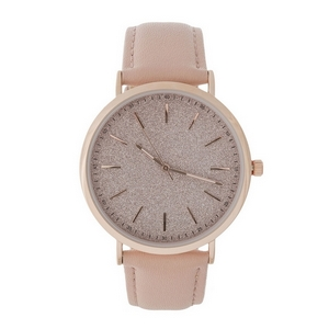 Faux leather band watch with rose gold tone accents and a glitter face.