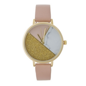 Blush pink watch with a marbled, glitter, and blush color blocked face.