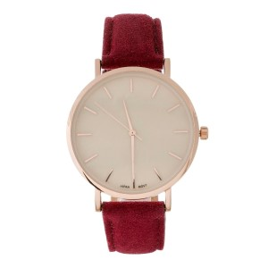 Genuine leather and suede watch with a pearlized face.