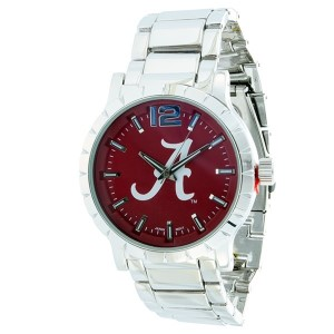 Officially licensed silver tone metal band mens watch with Alabama logo over crimson background.
