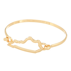 "7"" around gold tone bracelet featuring the outline of the state of Kentucky"