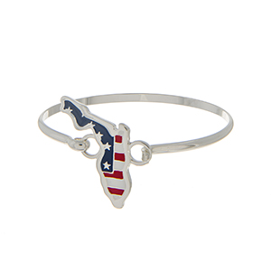 Silver tone latch bangle bracelet with an American flag inspired state of Florida focal.