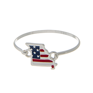 Silver tone latch bangle bracelet with an American flag inspired state of Missouri focal.