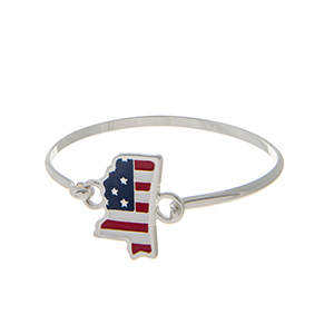 Silver tone latch bangle bracelet with an American flag inspired state of Mississippi focal.