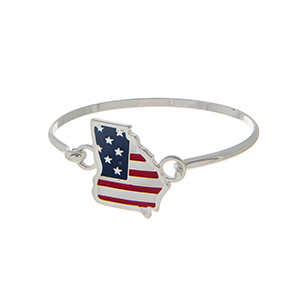 Silver tone latch bangle bracelet with an American flag inspired state of Georgia focal.