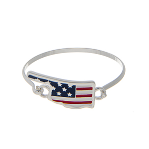 Silver tone latch bangle bracelet with an American flag inspired state of Oklahoma focal.
