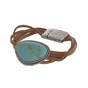 "Brown cord magnetic clasp cuff bracelet with a triangular turquoise stone focal in a burnished silver tone casting. Approximately 7 1/2"" in length."