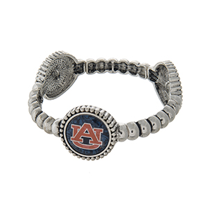 Officially licensed silver tone Auburn University stretch bracelet with three stations. Our exclusive design.