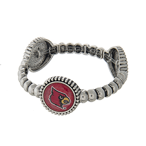 Officially licensed silver tone  University of Louisville stretch bracelet with three stations. Our exclusive design.