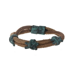 Brown leather and patina, double row, magnetic bracelet.
