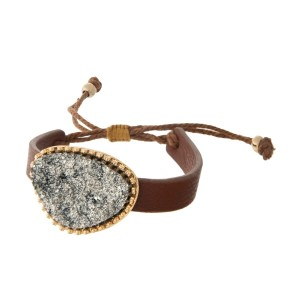 Brown faux leather adjustable bracelet with a gray faux druzy focal.