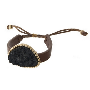 Brown faux leather adjustable bracelet with a black faux druzy focal.