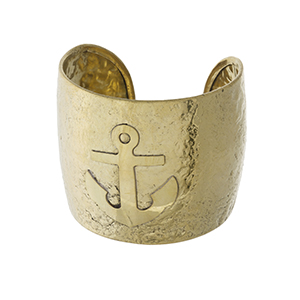 "Gold tone, handmade brass cuff bracelet with an anchor. Approximately 2"" in width."