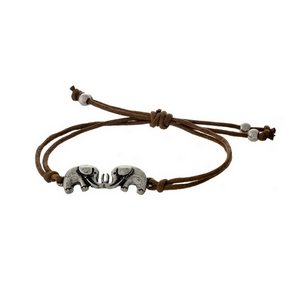 Brown cord adjustable bracelet with two silver tone elephants.