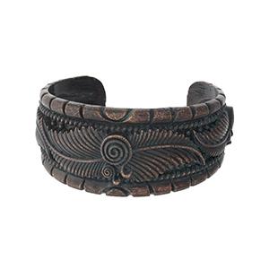 Patina and copper tone cuff bracelet.