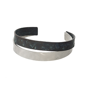 Hammered patina and silver tone cuff bracelet.