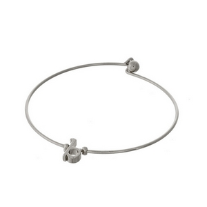 """Dainty silver tone bangle bracelet with a lowercase """"B"""" initial."""