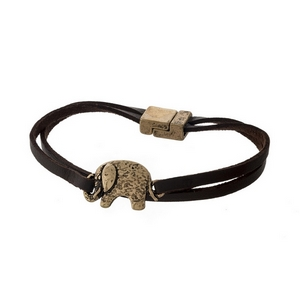 Brown faux suede bracelet with an elephant focal and a magnetic closure.