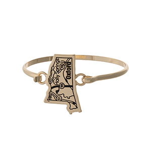 Gold tone bangle bracelet with the city map of Oxford, Mississippi stamped on the state shape.
