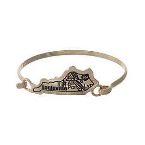 Gold tone bangle bracelet with the city map of Louisville, Kentucky stamped on the state shape.
