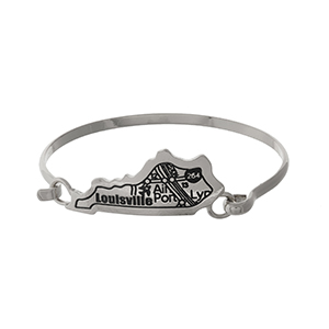 Silver tone bangle bracelet with the city map of Louisville, Kentucky stamped on the state shape.