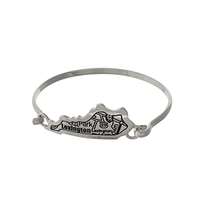 Silver tone bangle bracelet with the city map of Lexington, Kentucky stamped on the state shape.