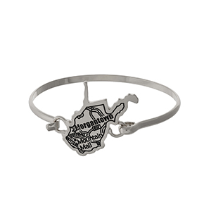 Silver tone bangle bracelet with the city map of Morgantown, West Virginia stamped on the state shape.