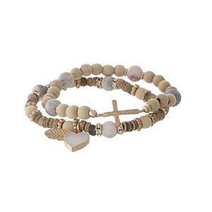 Two piece beaded stretch bracelet set with gray beads, a heart druzy charm and a gold tone cross.