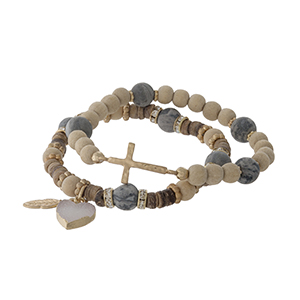 Two piece beaded stretch bracelet set with gray jasper beads, a heart druzy charm and a gold tone cross.