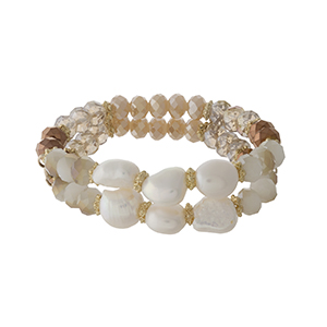 Bronze, ivory, and champagne beaded stretch bracelet with freshwater pearl beads. Handmade in the USA.