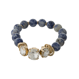 Sodalite, natural stone beaded stretch bracelet with clear rhinestones and gold tone accents.