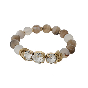 Brown agate, natural stone beaded stretch bracelet with clear rhinestones and gold tone accents.