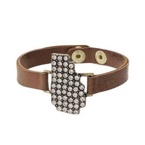 Bronze faux leather snap bracelet with the state shape of Georgia, accented by clear rhinestones.