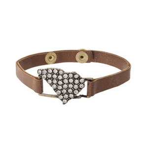 Bronze faux leather snap bracelet with the state shape of South Carolina, accented by clear rhinestones.