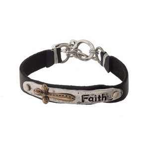 """Black and silver tone faux leather bracelet stamped with """"Faith."""""""