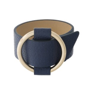 "Navy blue, genuine leather bracelet with a gold tone buckle. Approximately 1"" wide.   8.5"" long."