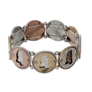 Silver, gold, and copper tone stretch bracelet with Mississippi cutouts.