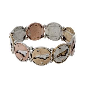 Silver, gold, and copper tone stretch bracelet with North Carolina cutouts.