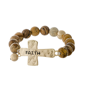 "Picture jasper beaded stretch bracelet with a gold tone cross, stamped with ""Faith."""