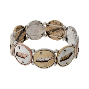 Silver, gold, and copper tone stretch bracelet with Tennessee cutouts.
