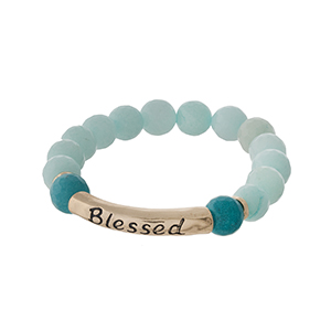 "Mint green natural stone beaded stretch bracelet with a gold tone bar stamped with ""Blessed."""