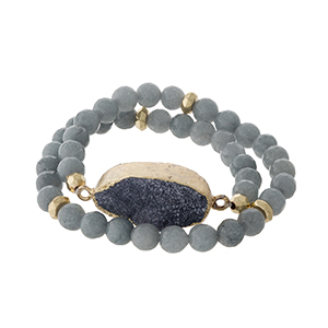 Gray natural stone beaded wrap bracelet with gold tone accents and a gray druzy stone focal.