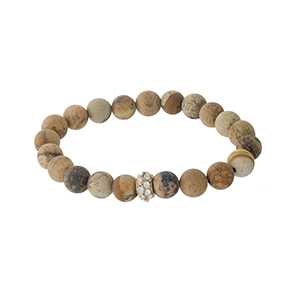 Picture jasper beaded stretch bracelet with a gold tone pave accent bead. Stones are approximately 10mm in size.