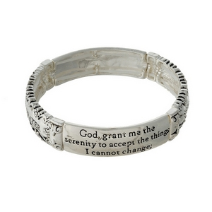 Silver tone stretch bracelet stamped with the Serenity Prayer.