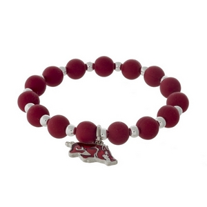 Officially licensed University of Arkansas, silver tone beaded stretch bracelet.