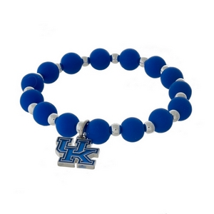 Officially licensed University of Kentucky, silver tone beaded stretch bracelet.