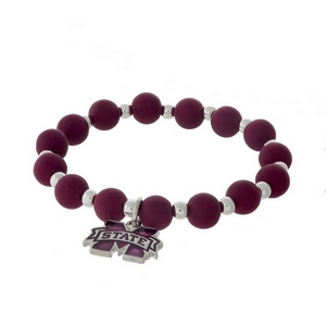 Officially licensed Mississippi State University, silver tone beaded stretch bracelet.