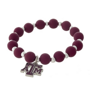Officially licensed Texas A&M University, silver tone beaded stretch bracelet.